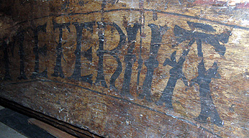 Inscription on a roof beam formerly at the west end of the north aisle September 2011