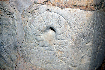 Scratch dial on the west wall of the south porch September 2011