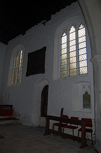 The south wall of the chancel looking east September 2011