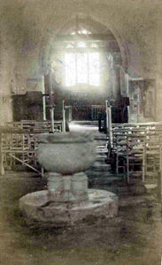 Church interior with font about 1910