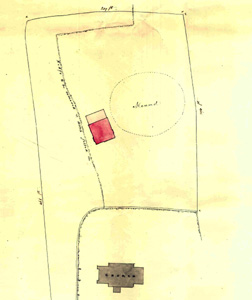 Plan of 1852 showing the church, the Vicarage and Warren Knoll