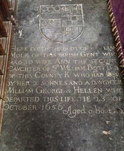 Tombstone of William Mole in the church