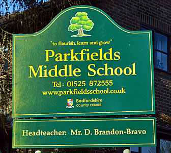 Parkfields Middle School sign
