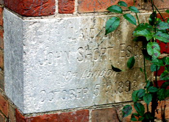 Date plaque on the exterior of 217 Castle Hill Road