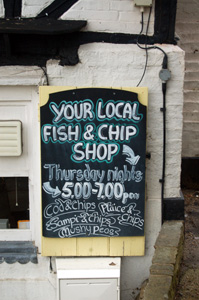 Fish and chip shop sign at the Cross Keys February 2010