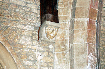 Head corbel on the south wall of the chancel May 2011