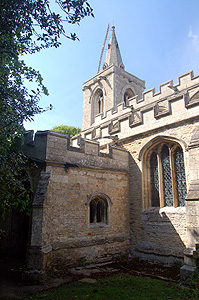 The south aisle porch and west tower May 2011