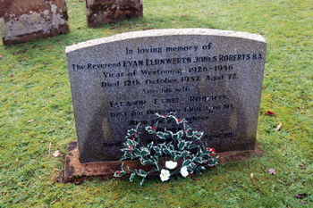The grave of Evan Llunwerth Jones Roberts January 2010