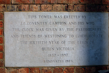 Westoning Clock Tower plaque