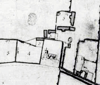 Close-up of the church dovecote and stables on the Russell Estate map of 1779 [R1/75]