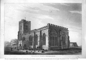 Willington church from the east in 1812 by Thomas Fisher [LL18/52]