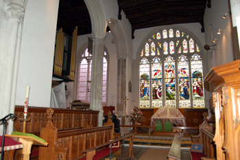 Looking across the chancel into the Gostwick Chapel August 2010
