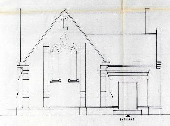 Plans showing the west elevation of the Methodist chapel in 1987 [PCWillington18/22]