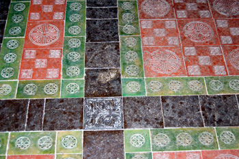 Tiles on the floor of the chancel August 2010