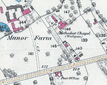 The location of the Wesleyan chapel in 1883