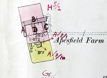 Apesfield Farm on the map accompanying the 1926 valuation
