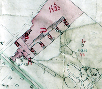 Birchmoor Farm buildings on the valuation map annotated in 1926