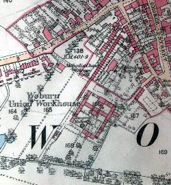 Map showing Woburn workhouse