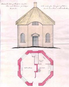 Plan and elevation of the Roundhouse in 1805 [R3/2114/530]