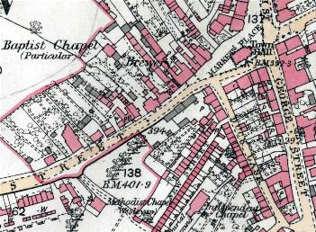 The Particular Baptist chapel on a map of 1882