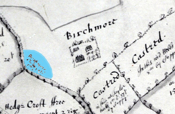 The light blue shows the area highlighted as Birchmoor churchyard in 1661 [X1/33]