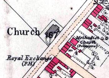 The mission chapel on a map of 1880