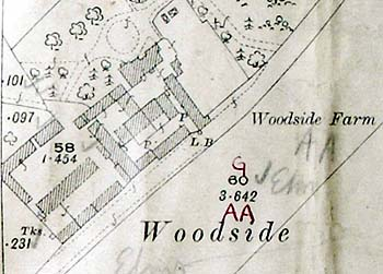 Woodside Farm on a map of 1901