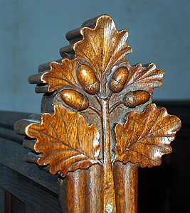 A bench end in the south aisle June 2012