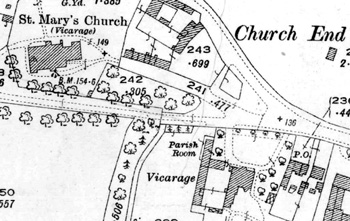 The position of the Vicarage on a map of 1926