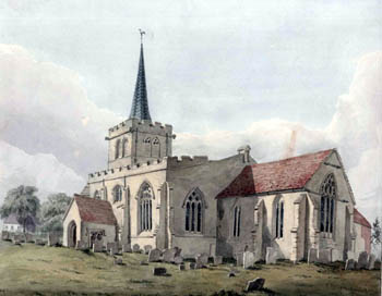 Wootton church from the south east about 1820 [Z254/88/276]