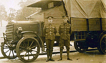 Ernie (on the right) with a mate and a Daimler lorry